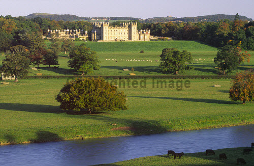 Looking across the River Tweed to Floors Castle from the remains of Roxburgh Castle near Kelso in the Scottish Borders, Scotland. PIC: ALLAN DEVLIN/SCOTTISH VIEWPOINT Tel: +44 (0) 131 622 7174  Fax: +44 (0) 131 622 7175 E-Mail : info@scottishviewpoint.com This photograph can not be used without prior permission from Scottish Viewpoint. river,tweed,floors,castle,roxburgh,roxburghe,kelso,landscape,scottish,borders,autumn,fall,scotland,uk,history,heritage ALLAN DEVLIN/SCOTTISH VIEWPOINT