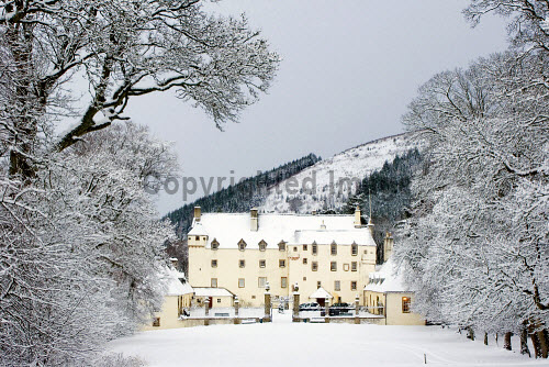 Traquair House after a snowfall - the oldest inhabited country house in the UK, Scottish Borders.
