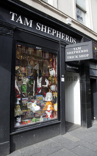 Tam Shepherd's Trick Shop, 33 Queen Street, Glasgow. The shop is an iconic Glasgow shop which has remained in the same location for over 100 years. Pic: Iain McLean / Scottish Viewpoint  Tel: +44 (0) 131 622 7174  Fax: +44 (0) 131 622 7175  E-Mail : info@scottishviewpoint.com  Web: www.scottishviewpoint.com This photograph cannot be used without prior permission from Scottish Viewpoint. shopping,retail,joke,iconic shop,fancy dress