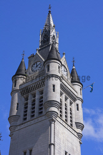 The spire of the Town House, Aberdeen city centre. Picture Credit : D Barnes / Scottish Viewpoint Tel: +44 (0) 131 622 7174   E-Mail : info@scottishviewpoint.com This photograph cannot be used without prior permission from Scottish Viewpoint. 2011,summer,sunny,granite,building,architecture,clock,tower 2011 D. Barnes