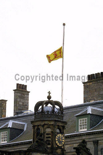 The Royal Standard of Scotland flying at half-mast in tribute to Queen Elizabeth, the Queen Mother - who died last Saturday - at the Palace of Holyroodhouse in Edinburgh, where a book of condolence was opened for members of the public and others to sign.  Photograph � Colin McPherson, 02/04/02. Tel. +44 (0)1968 661644 or 07831 838717. Colin McPherson