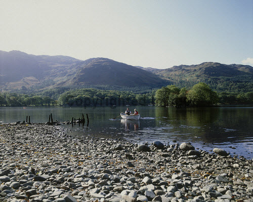 LOOKING OVER TO A COUPLE IN A ROWING BOAT ON LOCH EARN- EXTENDING OVER 6 MILES WEST TO EAST FROM LOCHEARNHEAD TO ST. FILLANS AND RENOWNED FOR WATERSPORT FACILITIES, ON A SUMMER'S DAY, STIRLING. PIC: VisitScotland/SCOTTISH VIEWPOINT Tel: +44 (0) 131 622 7174   Fax: +44 (0) 131 622 7175 E-Mail : info@scottishviewpoint.com This photograph can not be used without prior permission from Scottish Viewpoint. ROMANTIC,SUNNY,PEOPLE,ACTIVITY,WATER,SUMMER