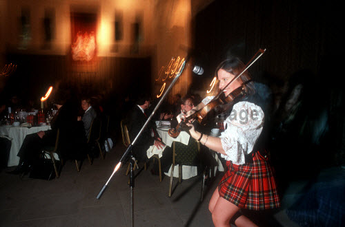 A FIDDLER IN A MINI KILT PROVIDES ENERGETIC ENTERTAINMENT