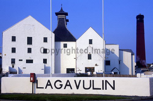 LOOKING OVER TO THE LAGVULIN DISTILLERY ON THE ISLAND OF ISLAY, INNER HEBRIDES.