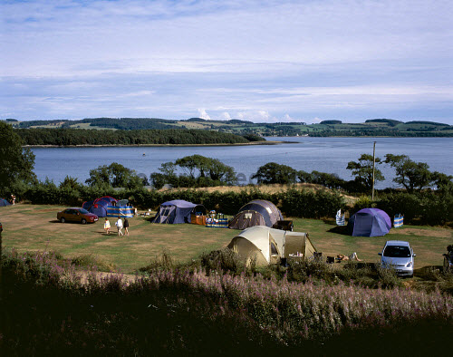 TENTS ON THE CAMP SITE AT THE  SEAWARD CARAVAN PARK SITE, NEAR KIRKCUDBRIGHT, DUMFRIES AND GALLOWAY.