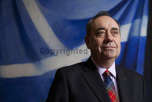 First Minister, Alex Salmond in his office at the Scottish Parliament, Edinburgh. MSP,Independence,politician,politicians,politics,SNP,Saltire,flag,Scotland,government,yes,vote,campaign,debate,question,political,National,Party,leader,Holyrood,portrait,tartan,tie,UK,2014,city,interior
