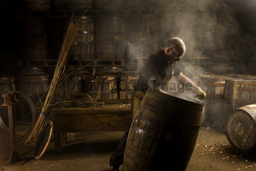 A worker with a barrel at the Glenfiddich distillery - a Speyside single malt Scotch whisky distillery in Dufftown, Moray, Scotland. horizontal,inside,interior,indoors,Glenfiddich Distillery,Dufftown,Moray,Scotland,Scottish,UK,U.K,Great Britain,1 person,one man only,45- 55 years,single malt,whisky,production,cask,barrel,worker,speyside