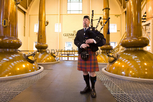 A piper in Glenmorangie Distillery, Tain, Highlands of Scotland inside,interior,indoors,stillroom,Glenmorangie Distillery,Tain,Highlands,Scotland,Scottish,UK,U.K,Great Britain,1 person,single malt,whisky,still,vat,copper,spirit,whiskey,piper,bagpipes,tartan,kilt
