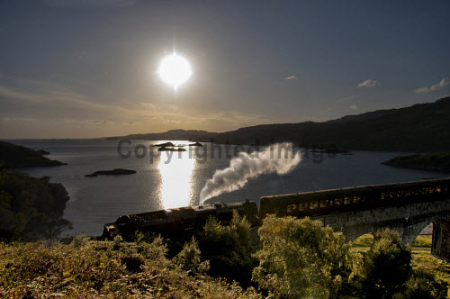 The Jacobite Steam Train crosses the Loch Nan Uamh viaduct near Arisaig, Highlands of Scotland. horizontal,day,summer,Highland,Highlands,Lochaber,no people,nobody,Scottish,UK,U.K,Great,Britain,viaduct,train,attraction,attractions,visitor,tourist,jacobite,steam,harry,potter,hogwarts,express,transport,west,line,coast,coastal,coastline,water,sea,Loch Nan Uamh,railway,orb,sun
