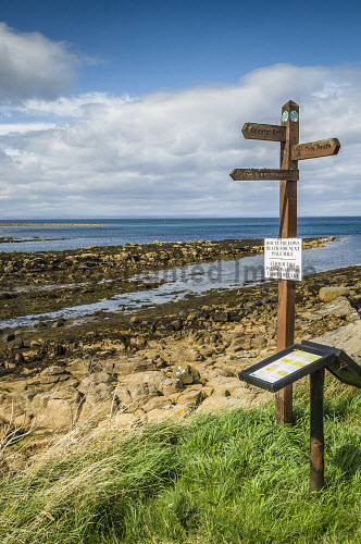 Signpost on the Fife Coastal Path between Fife Ness and Kingsbarns, Fife, Scotland uk,u.k,Great Britain,GB,G.B,Scotland,Scottish,nobody,outdoors,daytime,summer,east neuk,fife,beach,beaches,sand,sandy,coast,coastal,coastline,water,sea,coastal path,sign,signpost