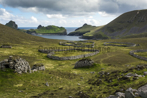 The archipelago of St Kilda, Outer Hebrides, Scotland uk,u.k,Great Britain,GB,G.B,Scotland,Scottish,nobody,outdoors,daytime,Summer,st kilda,Outer Hebrides,world heritage site,archipelago,coast,coastal,coastline,water,sea,island,islands,hirta,cleits