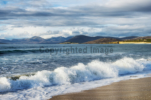 Waves crashing on the beach at Scarista on the Isle of Harris, Outer Hebrides, Scotland uk,u.k,Great Britain,GB,G.B,Scotland,Scottish,nobody,daytime,outdoors,Harris,Outer Hebrides,Scarasta,Spring,scarista,western isles,beach,beaches,sand,sandy,coast,coastal,coastline,water,sea