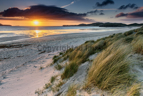 Sunset over the beach at Balnakeil Bay, Sutherland, Highlands of Scotland uk,u.k,Great Britain,GB,G.B,Scotland,Scottish,nobody,daytime,outdoors,highland,highlands,sutherland,beach,beaches,sand,sandy,coast,coastal,coastline,water,sea,Balnakeil,Bay,sunset