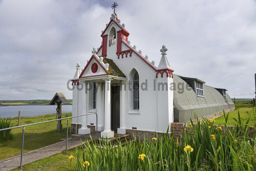 The Italian Chapel,  built by Italian POW's during WW2, Lamb Holm, Orkney. Scotland uk,u.k,Great Britain,GB,G.B,Scotland,Scottish,nobody,daytime,outdoors,exterior,summer,orkney,island,islands,isle,isles,Italian Chapel