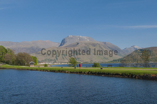 Ben Nevis and Caledonian Canal at Corpach, Highlands of Scotland uk,u.k,Great Britain,GB,G.B,Scotland,Scottish,nobody,outdoors,daytime,highland,highlands,ben nevis,munro,munros,mountain,mountains,hill,hills,coast,coastal,coastline,water,Caledonian Canal,spring