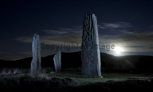 The Standing Stones on Machrie Moor in moonlight, Isle of Arran, Scotland uk,u.k,Great Britain,GB,G.B,Scotland,Scottish,nobody,night time,outdoors,history,heritage,historic,island,islands,isle,isles,moonlight,ghostly,atmospheric,arran,machrie,moor,north ayrshire,standing stones,moon