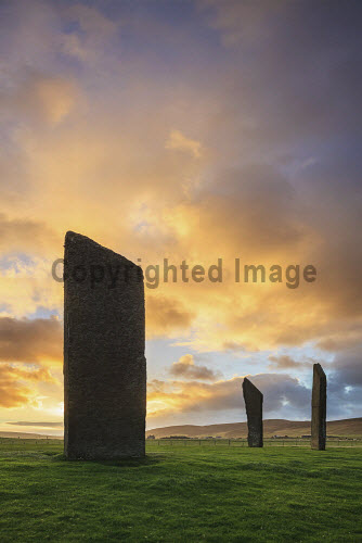 The Standing Stones of Stenness on Mainland Orkney, captured at sunrise, Orkney, Scotland uk,u.k,Great Britain,GB,G.B,Scotland,Scottish,nobody,daytime,outdoors,autumn,autumnal,orkney,coast,coastal,coastline,water,sea,island,islands,isle,isles,stenness,stone,standing,history,heritage,historic