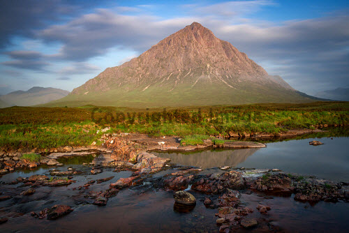 Buchaille Etive Mor, Glen Coe at sunrise in the summer, Highlands of Scotland uk,u.k,Great,Britain,GB,G.B,Scotland,Scottish,nobody,daytime,outdoors,summer,Buchaille Etive Mor,munro,munros,highland,highlands,mountain,mountains,hill,hills