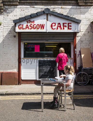 Small cafe in the Barras market in East End of Glasgow United Kingdom Barras,cafe,market,Glasgow,East,End,cafes,markets,outdoor,city,cities,Scotland,Scottish,British,Britain,Europe,European,Gallowgate,takeaway,United Kingdom,UK