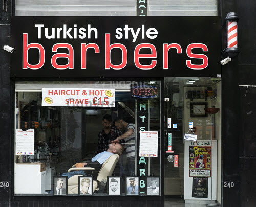 Turkish style Barber shop on Sauchiehall Street in Glasgow, Scotland, United Kingdom barber,shop,barbers,Glasgow,Turkish,mens,male,grooming,hairdresser,shops,shave,shaving,Scotland,Scottish,immigration,immigrants,migration,exterior,business,work,working,building,shop front,United,kingdom,Britain,british,Europe,european,city,cities,service