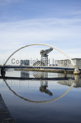 View along River Clyde towards Arc Bridge at Finnieston in Glasgow Clyde,Glasgow,River,Scotland,view,Arc,Bridge,Squinty,United Kingdom