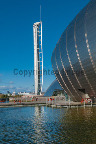 Glasgow tower , observation tower and Glasgow Science Centre Govan Glasgow Scotland Britain,City of Glasgow,EU,Europe,GB,Glasgow,Glasgow Science Centre,Glasgow Tower,Great Britain,Science Centre,Scotland,UK,tower,visitor attraction