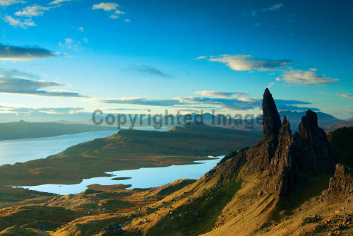The Old Man of Storr and the Cuillin, Isle of Skye, Inner Hebrides, Scotland uk,u.k,Great Britain,GB,G.B,Scotland,Scottish,nobody,daytime,outdoors,autumn,cuillin,cuillins,skye,island,islands,isle,isles,mountain,mountains,hill,hills