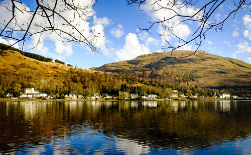 Spring sunshine on the village of Arrochar at the head of