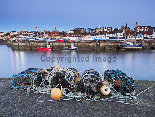 St Monans Harbour East Neuk of Fife , Scotland uk,u.k,Great Britain,GB,G.B,Scotland,Scottish,nobody,daytime,outdoors,colour,colour image,day,dock,fife,fishing industry,fishing village,harbour,horizontal,lobster pots,no one,no people,no-one,outside,over,photography,port,scottish culture,sea,skies,st,st monans harbour,stone,tourist destination,travel,travel destination,wall,water,boats