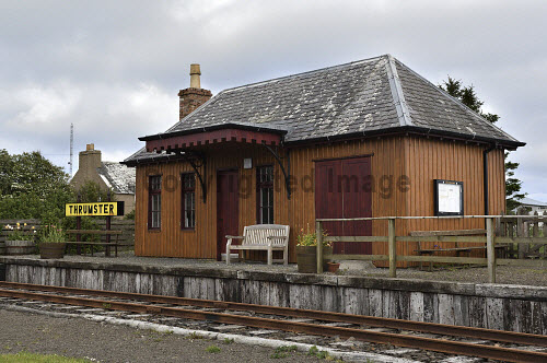 thrumster station building, wick to lybster railway,fish traffic,closed, thrumster,wick;Caithness, Highlands of Scotland uk,u.k,Great Britain,GB,G.B,Scotland,Scottish,nobody,daytime,outdoors,thrumster station building,fish traffic,wick to lybster railway,closed,trackbed,thrumster,wick,caithness,railway,train,station