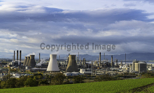 View of Grangemouth refinery operated by INEOS on River Forth in Scotland, United Kingdom Grangemouth,Grangemouth refinery,INEOS,oil refinery,refineries,Scotland,Scottish,petrochemical,industrial complex,petrochemical plant,petrochemicals,oil refineries,view,industry,chemicals,energy,oil and gas,processing,United Kingdom,UK,Europe,European,British,britain