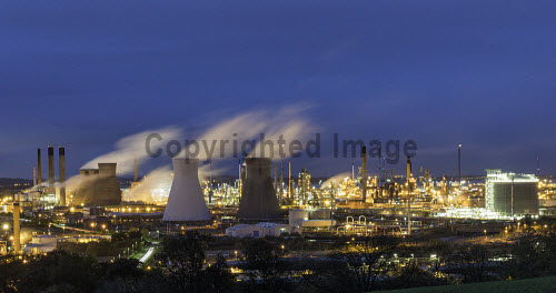 View of Grangemouth refinery operated by INEOS on River Forth in Scotland, United Kingdom Grangemouth,Grangemouth refinery,INEOS,oil refinery,night,refineries,Scotland,Scottish,petrochemical,industrial complex,petrochemical plant,petrochemicals,oil refineries,view,industry,chemicals,energy,oil and gas,processing,United Kingdom,UK,Europe,European,British,britain