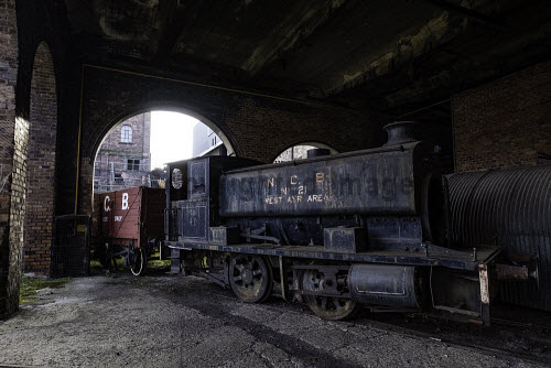 Old steam locomotive at the National Mining Museum at Newtongrange in Scotland, United Kingdom. National Mining Museum,Newtongrange,Scotland,railway,locomotive,old,Scottish,museums,coal mine,historic,heritage,industrial,industry,former,colliery,United Kingdom,travel,tourism,nobody