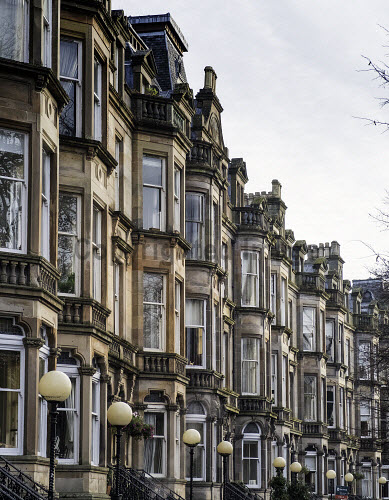 Beautiful Apartment Buildings On Queens Drive In Park District Of Glasgow Scotland United