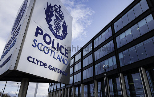 View of Police Scotland headquarters at Clyde Gateway in Glasgow, Scotland, United Kingdom Police Scotland,Scotland Police,Scotland,Scottish police,headquarters,Clyde Gateway,Glasgow,outdoor,sign,signage,daytime,building exterior,UK,united Kingdom,Britain,British,law enforcement,organisation,office block