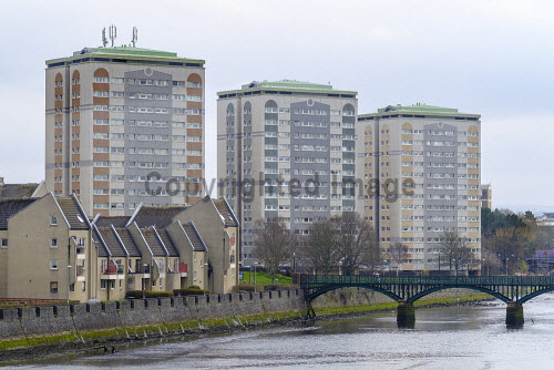 View of high rise social housing in central Ayr , Ayrshire, Scotland, UK Ayr,social housing,Scotland,Scottish,residential,high rise,tower. blocks,flats,homes,houses,council houses,social housing Scotland,Ayrshire,UK,united kingdom,Britain,British,town,towns,building exterior,daytime,nobody,social housing UK