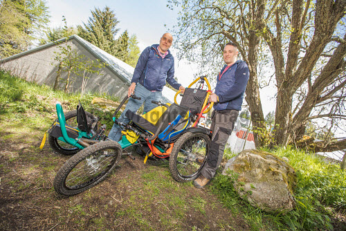 Equal Adventures  Pictured:  Founder and organiser, Suresh Paul who discusses the Boma off-road, all terrain powered wheelchair with engineer, James Bennett  Paul Campbell/HIE 2018,adventure,wheelchair,enabling,adventures
