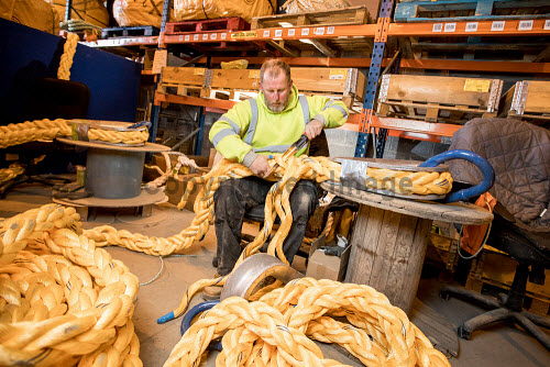 Gael Force Moorings  Gael Force moorings team in production with SeaQure Line rope for aquaculture grid systems.  Picture Credit Paul Campbell/HIE 2018,gael,force,marine,rope,aquaculture,production