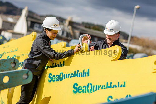 Gael Force Moorings  Gael Force moorings team inspect SeaQure Hold anchors for aquaculture grid systems.  Picture Credit Paul Campbell/HIE 2018,gael,force,marine,anchor,aquaculture,production