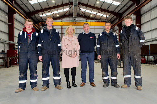 Gow's,  Lybster Ltd, Caithness  Apprentices - Ben Swanson, Callum Sutherland - Sandra Gow and Wullie Robertson - Apprentices Joseph Gunn and Morgan Robertson.  Picture Credit Angus Mackay /HIE 2018,engineering,design,fabrication,installation,Gow's,apprentice,modern,apprentices