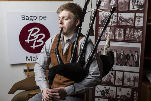 , playingBurgess Bagpipes Ltd, Forres  Scott Hay seen here on pipes  Picture Credit John Paul/HIE 2018,bagpipes,bagpipe,music,production,pipes,piping,manufacture,manufacturing,manufacturer,design,product,playing