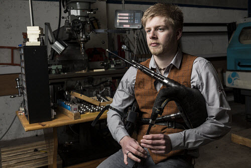 Burgess Bagpipes Ltd, Forres  Scott Hay seen here on pipes  Picture Credit John Paul/HIE 2018,bagpipes,bagpipe,music,production,pipes,piping,manufacture,manufacturing,manufacturer,design,product