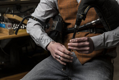 Burgess Bagpipes Ltd, Forres  Scott Hay seen here on pipes  Picture Credit John Paul/HIE 2018,bagpipes,bagpipe,music,production,pipes,piping,manufacture,manufacturing,manufacturer,design,product,detail,hands