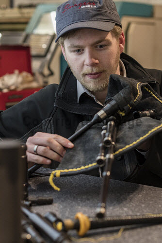 Burgess Bagpipes Ltd, Forres  Scott Hay seen here working on products  Picture Credit John Paul/HIE 2018,bagpipes,bagpipe,music,production,pipes,piping,manufacture,manufacturing,manufacturer,design,product