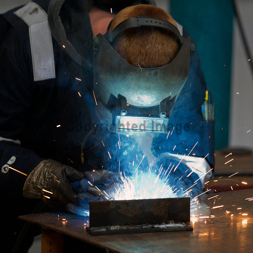 Gow's,  Lybster Ltd, Caithness  A worker welding  Picture Credit Angus Mackay /HIE 2018,engineering,design,fabrication,installation,Gow's,apprentice,modern,apprentices,sparks,welder