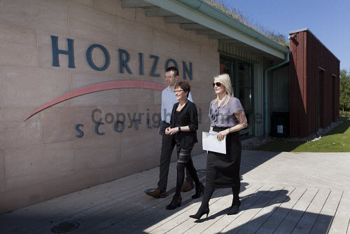 Horizon Scotland, The Enterprise Park Forres, Moray  Breakfast event at Horizon Scotland  People approaching the entrance at Horizon Scotland  Picture Credit Gary Doak/HIE 2018,attendees,breakfast,people,business,businesses,meeting,meetings,events,event,entrance,walking,3 people