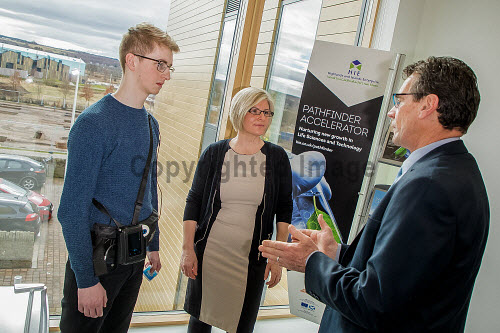 Nexus Open Day and launch of Pathfinder Accelerator Programme at Aurora House.  James Cameron,  Head of Life Sciences meets with Lesley Patience, Nurse Manager with Corporate Health International  and Reece Moyes, a graduate placement with CHI.  Picture Credit Paul Campbell/HIE 2018,Pathfinder Accelerator Programme,nexus