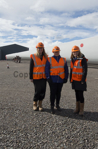 LTR- Elain MacRae HIE,  Gillian Morrison (HIE), Elaine Hanton HIE,  in front of the Rotra Mare at Nigg Yard.