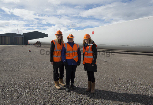 LTR- Elain MacRae HIE,  Gillian Morrison (HIE), Elaine Hanton HIE,  in front of the Rotra Mare at Nigg Yard.  Nigg Energy Park - operated by GEG - is currently being used as the construction and marshalling port for the SSE-led Beatrice Offshore Wind Farm (BOWL). Siemens Wind Power - who are operating onsite at Nigg - are responsible for the design, manufacture and installation of the 84 wind turbine generators.  Picture Credit Gillian Frampton/HIE 2018,nigg,yard,fabrication,siemens