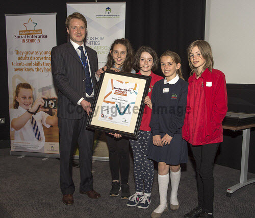 Social Enterprise in Schools Awards 2017 Eden Court Theatre Inverness  Pupils of Aldourie Primary School  get their award from Peter Guthrie from HIE       PIC   Trevor Martin/HIE 2017,schools,school,pupils,pupil,awards,award,social,enterprise